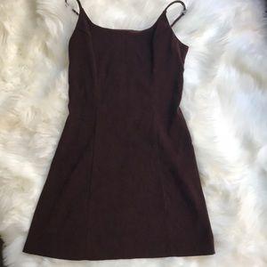 Brown A-line Suede Dress